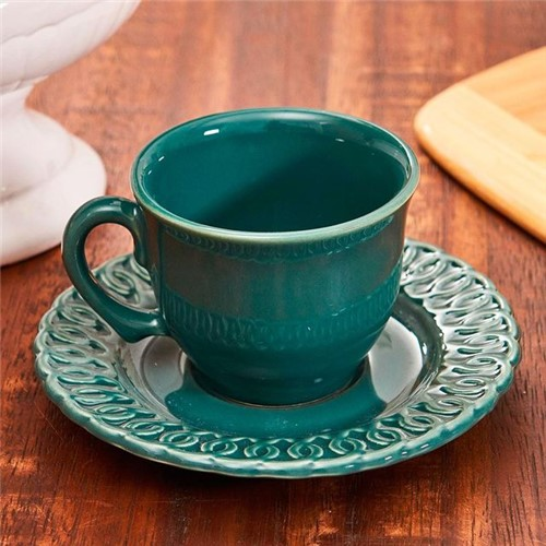 Xícara com Pires para Chá Arcos Verde Verde