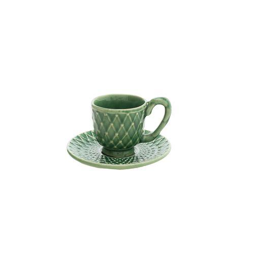 Xícara de Café com Pires Verde Aurora 7cm