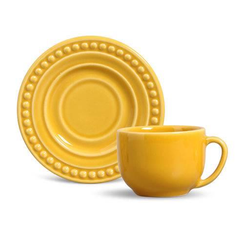 Xícara de Chá com Pires Atenas 160Ml Amarela - Porto Brasil