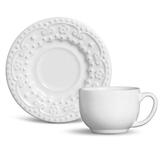 Xícara de Chá Esparta Cerâmica 6 Peças Branco Porto Brasil