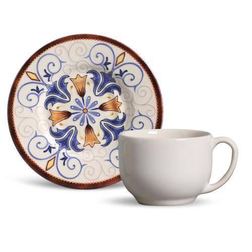 Xícaras de Chá com Pires Cerâmica Mônaco 6 Peças Porto Brasil Atrium