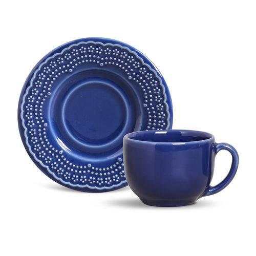 Xícaras de Chá Porto Brasil Madeleine Azul Navy 6 Unidades