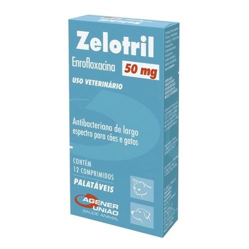 Zelotril 50mg para Cães e Gatos Uso Veterinário com 12 Comprimidos