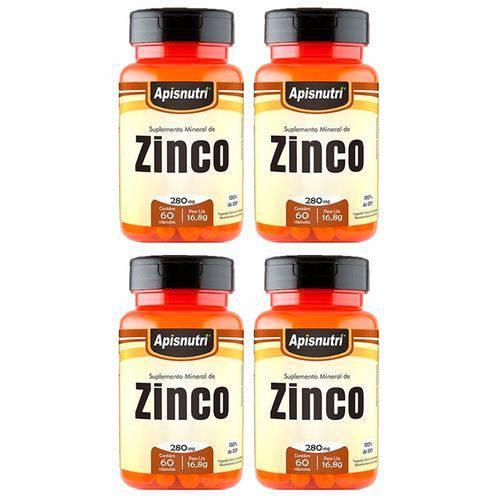 Zinco - 4 Un de 60 Cápsulas - Apisnutri