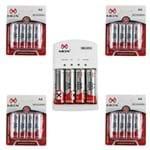 20 Pilhas Recarregáveis Mox AA + Carregador Rápido