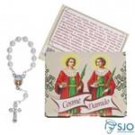 100 Cartões com Mini Terço de Cosme e Damião | SJO Artigos Religiosos
