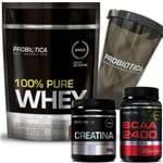 100% Pure Whey Protein 825g Refil Chocolate + BCAA 2400 + Creatina + Shaker Probiótica