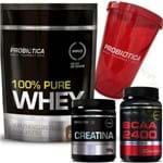 100% Pure Whey Protein Baunilha 825g Refil + BCAA 2400 + Creatina + Shaker Probiótica