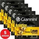 5 Encordoamento Giannini Acústico Viola Caipira Tensão Leve / Cebolão Mi GESVAL