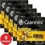 5 Encordoamento Giannini Acústico Viola Caipira Tensão Média / Cebolão Ré GESVAM