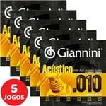 5 Encordoamento Giannini Acústico Violão 12 Cordas 010 047 GESWA12 Bronze 65/35
