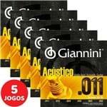 5 Encordoamento Giannini Acústico Violão Aço 011 052 GESPW Bronze 65/35