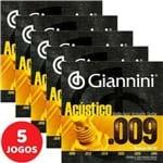 5 Encordoamento Giannini Acústico Violão Aço 09 045 GESWAL Bronze 65/35