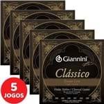 5 Encordoamento Giannini Clássico P/ Violão Nylon Tensão Leve GENWPL