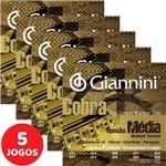 5 Encordoamento Giannini Cobra Viola Caipira Tensão Média GESVM Cobre Prateado