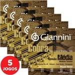 5 Encordoamento Giannini Cobra Viola Caipira Tensão Média GESVNM Níquel
