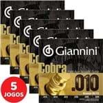 5 Encordoamento Giannini Cobra Violão Aço 010 050 GEEFLE Bronze 85/15