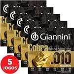 5 Encordoamento Giannini Cobra Violão de 12 Cordas 010 050 GEEF12M Bronze 85/15