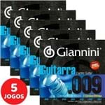 5 Encordoamento Giannini P/ Guitarra de 7 Cordas 09 054 GEEGST709 Nickel W.