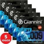 5 Encordoamento Giannini P/ Guitarra Híbrido 09 046 GEEGSTH9 Nickel R Wound