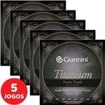 5 Encordoamento Giannini Titanium P/ Violão Nylon Tensão Pesada GENWTA