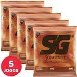 5 Encordoamento SG P/ Violão Aço 010 047 6690 Fósforo Bronze Light