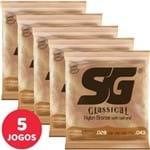 5 Encordoamento SG P/ Violão Nylon Clássico Tensão Média 5280