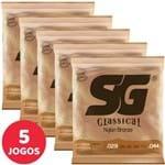 5 Encordoamento SG P/ Violão Nylon Clássico Tensão Pesada 5405