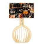 Abajur Bellatrix de Madeira Marfim com Cúpula Decorativa de Cerveja Rústico 35x56cm