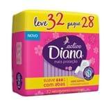 Absorvente Diana Active Cobertura Suave com Abas Leve 32 Pague 28