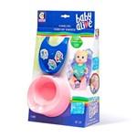 Acessórios para Boneca Baby Alive - Babador Azul Escuro e Penico Rosa - Cotiplás