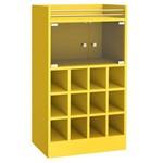 Adega Bar para 12 Garrafas 2 Portas Vidro 0197 Retrô Genialflex Amarelo