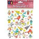 Adesivo Artesanal Toke e Crie 143x171mm Ad1772 - Pássaros Alegres 17815