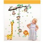 Adesivo Árvore Régua do Crescimento Medir Altura Criança Bebê Girafa Macaco Galho
