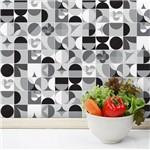 Adesivo de Azulejo Geométrica Preto e Branco 15x15 Cm com 18