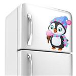 Adesivo de Geladeira Pinguim com Sorvete 25x18 Cm