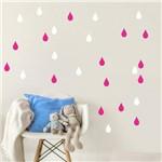 Adesivo de Gota Branco e Pink 150 Unidades Gotinhas 5cm X 3cm