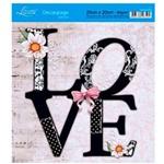 Adesivo de Papel para Decoupage Litoarte 20 X 20 Cm - Modelo Da20-035 Love Preto e Branco