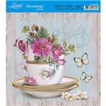 Adesivo de Papel para Decoupage Litoarte 20 X 20 Cm - Modelo Da20-027 Fundo Verde com Flores e Madeira