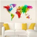 Adesivo de Parede Decorativo de Parede Stixx Mapa Mundi Color Colorido (81x140x1cm)
