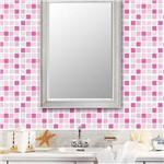 Adesivo de Parede Decorativo para Revestimento Stixx Pastilhas Chiclete Tons Rosa (123x61cm)