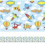 Adesivo de Parede Faixa Decorativa Infantil Aviões e Naves 6m X 15cm