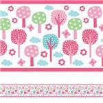 Adesivo de Parede Faixa Decorativa Infantil Floresta Rosa 10m X 10cm