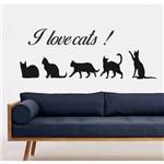 Adesivo de Parede I Love Cats Decoração Animal Gato
