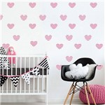 Adesivo de Parede Infantil Coração Rosa Chevron 55un