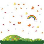 Adesivo de Parede Infantil Montanha e Flores