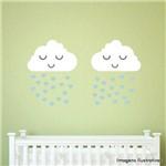 Adesivo de Parede Infantil Nuvem Chuva de Amor Menino 2 Unidades