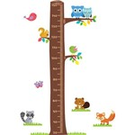 Adesivo de Parede Infantil Régua Árvore, Corujas e Pássaros