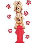 Adesivo de Parede Medidor Baby Dog Grudado Colorido (45x115cm)