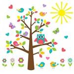 Adesivo de Parede para Quarto de Bebê Árvore Gigante de Coruja e Pássaros